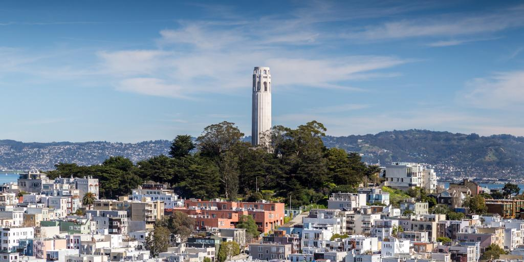 Coit Tower on a hill overlooking San Francisco