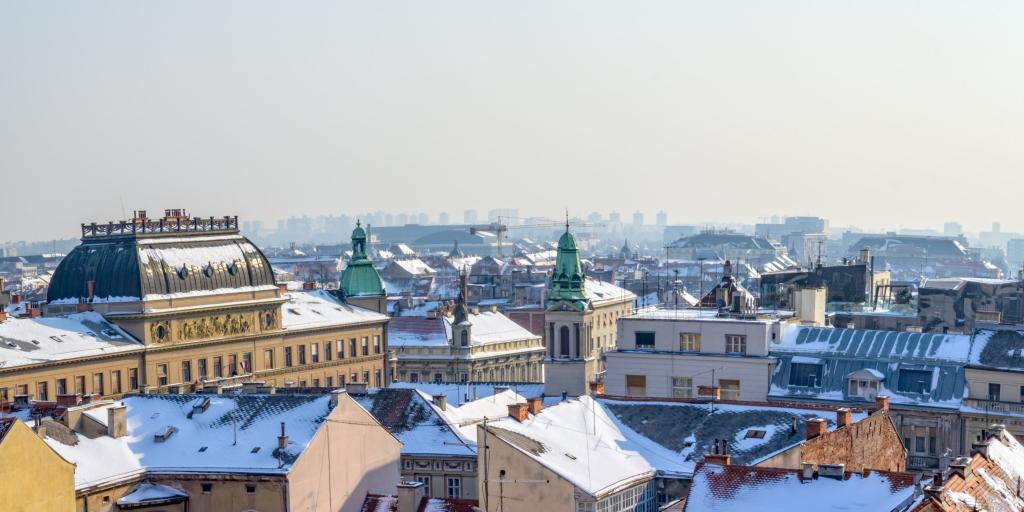 Panorama of Zagreb old town on a snowy day.