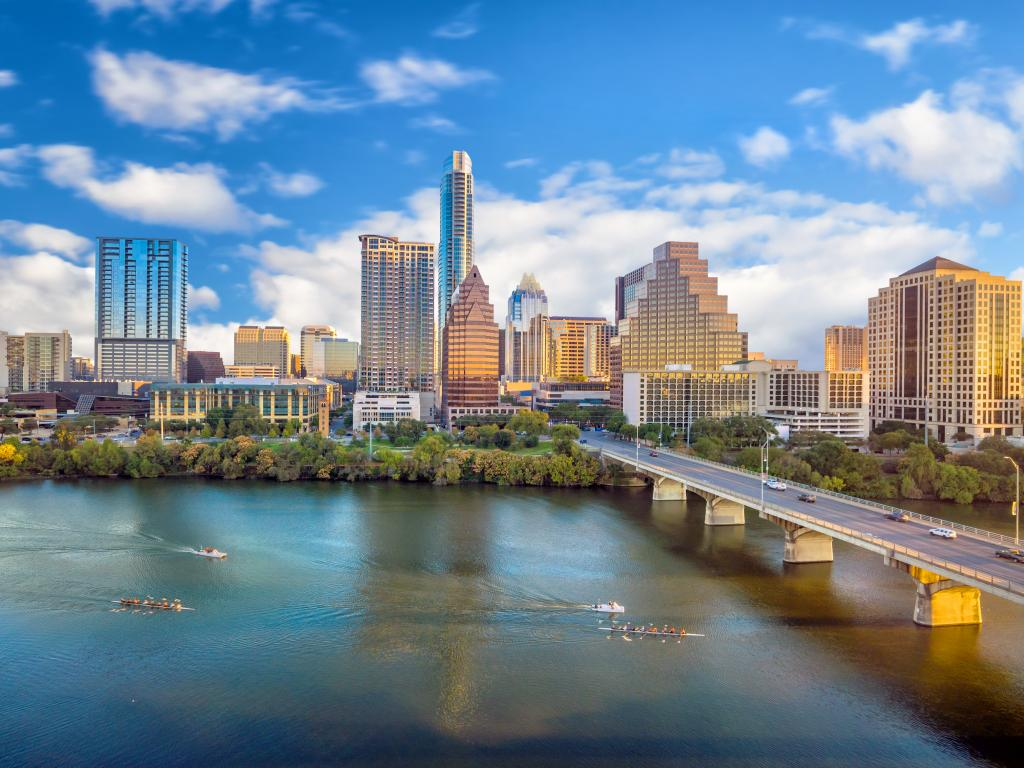 Skyline of downtown Austin, Texas from across the Colorado River on a sunny day.