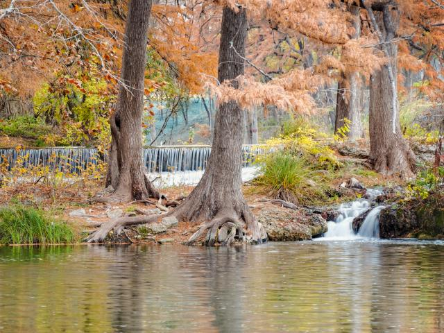 Waterfalls of the Guadalupe River In Hunt Texas Hill Country near San Antonio