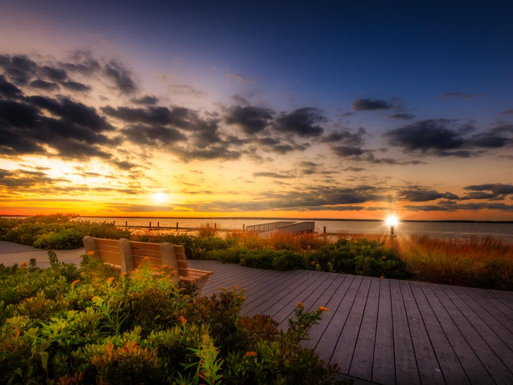 Sunset at the Southampton beach on Long Island, New York