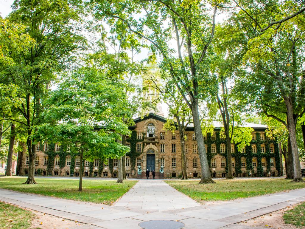 The grounds of Princeton University, a private Ivy League University that frequently ranks top in the United States