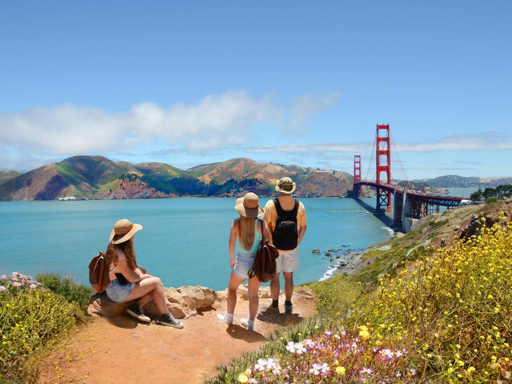 Family on the Coastal Trail overlooking San Francisco's Golden Gate Bridge