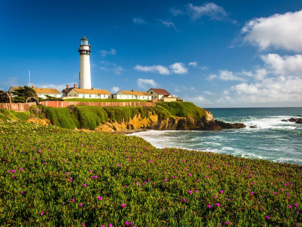 Pigeon Point Lighthouse on the coastline in Pescadero, California