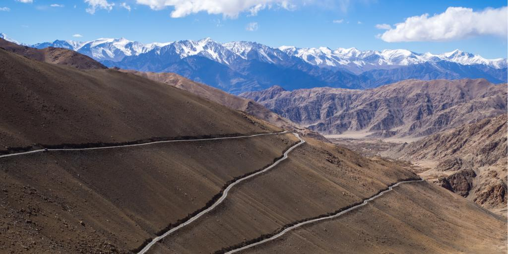Khardung La highway and a blue sky in Ladakh, India