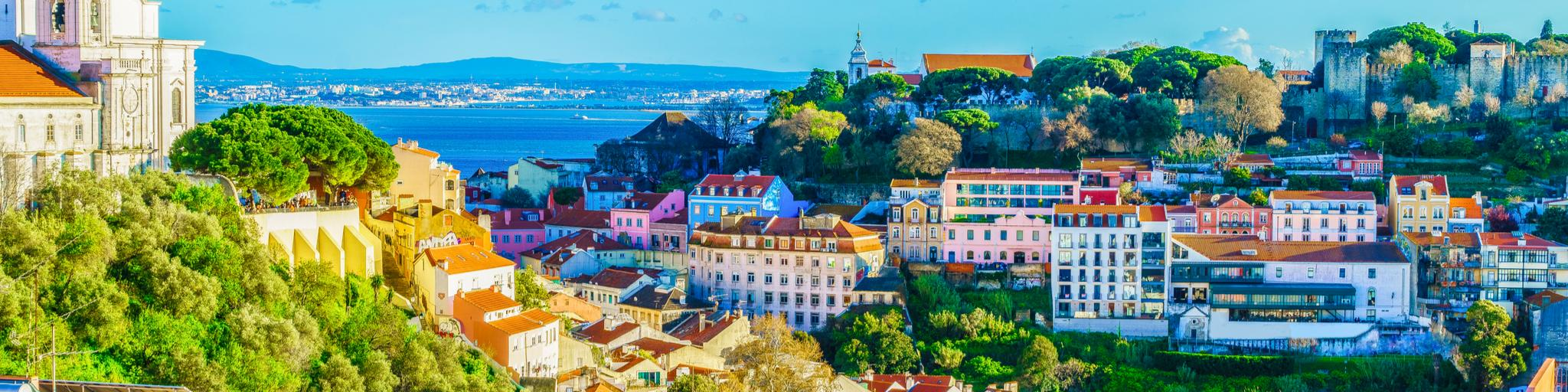 View over colourful rooftops in Lisbon