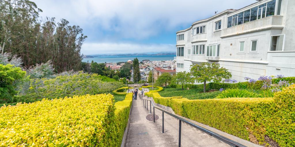 Lyon Street Steps in San Francisco going up to Billionaire Row in Pacific Heights