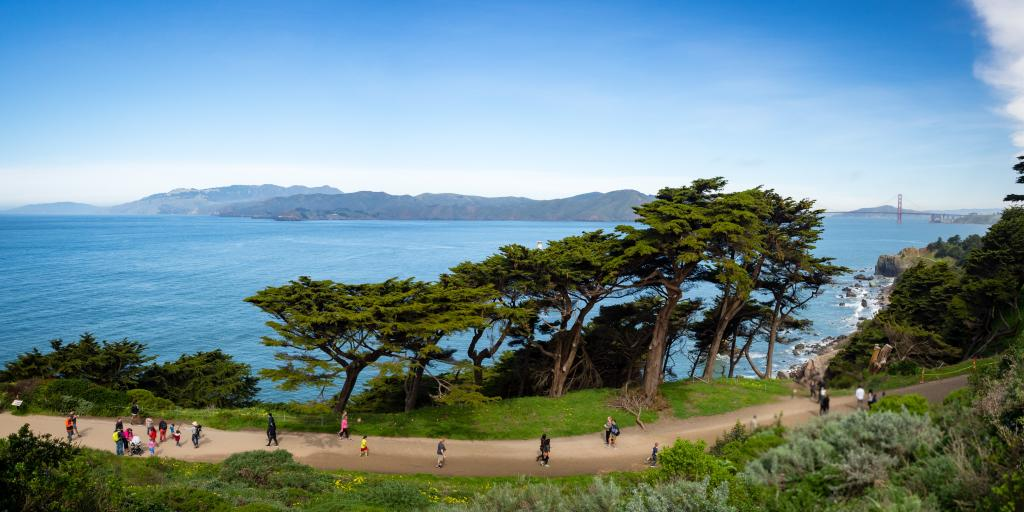 Path through Land's End in San Francisco with views of the Golden Gate Bridge