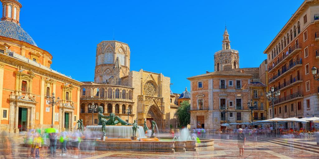 Fountain Rio Turia on Square of the Virgin Saint Mary in Valencia