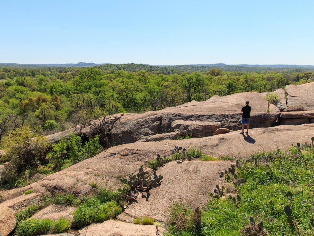 An amazing view down from a trail in the Enchanted Rock State Park, Texas.