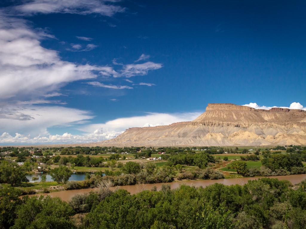 Colorado River flowing through the Grand Valley near Palisade, Colorado