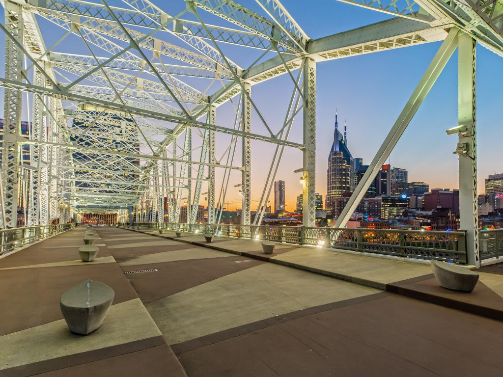 View of the Nashville skyline from the John Seigenthaler Pedestrian Bridge in the evening