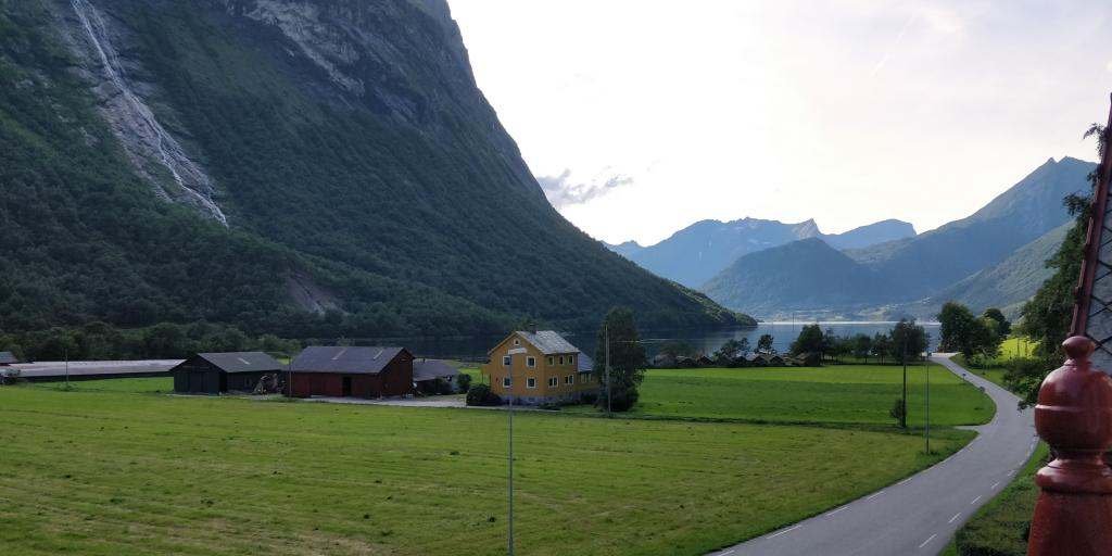 View of the fjord in Oye, Norway, from Hotel Union