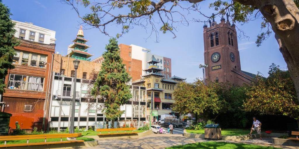 St Mary's Cathedral and square in San Francisco's Chinatown