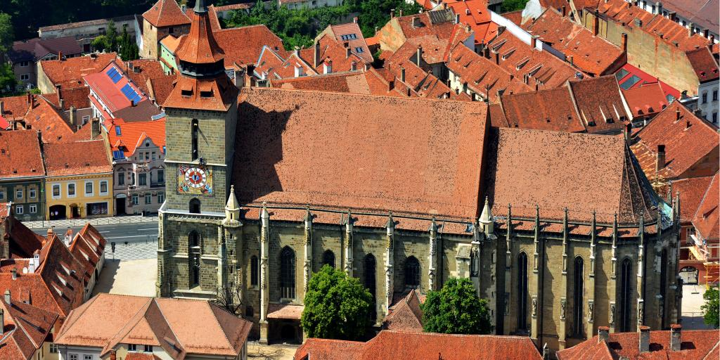 An aerial view of the Black Church in Brasov