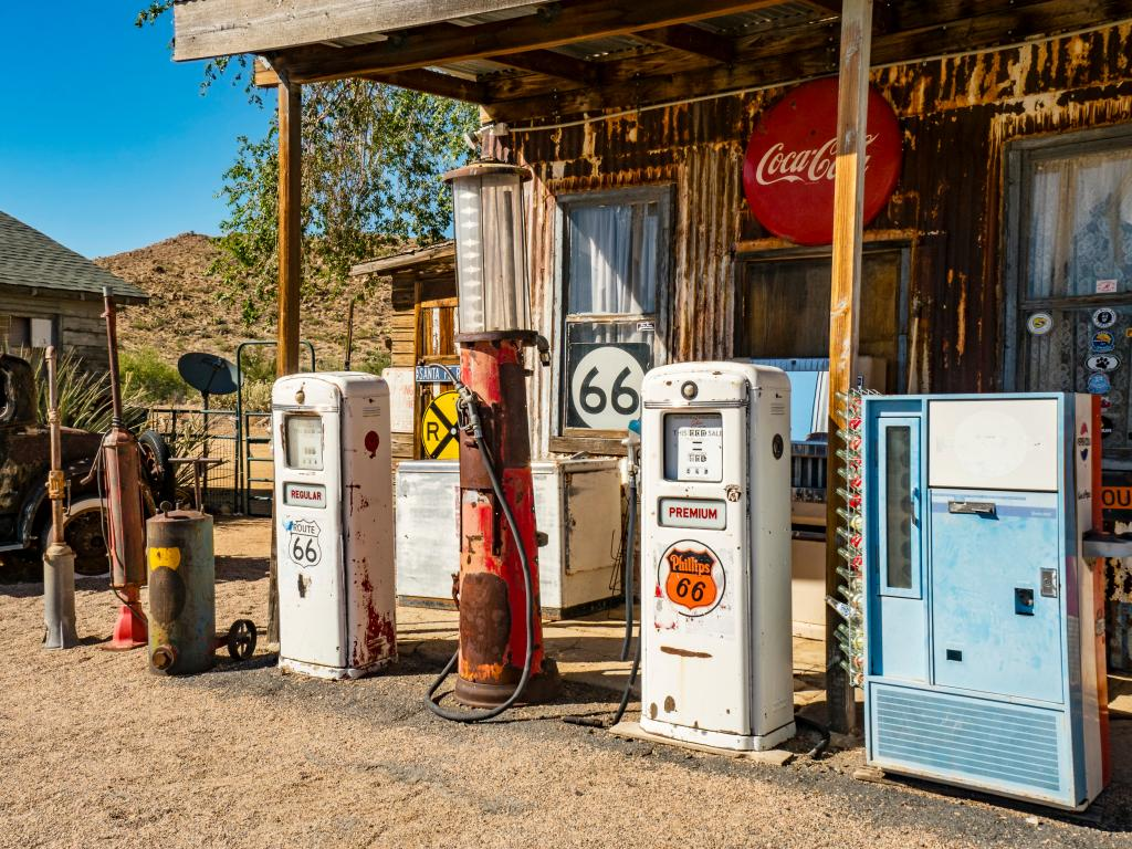 Classic gas pumps along Route 66 at the Hackenberry General Store in Hackenberry, Arizona