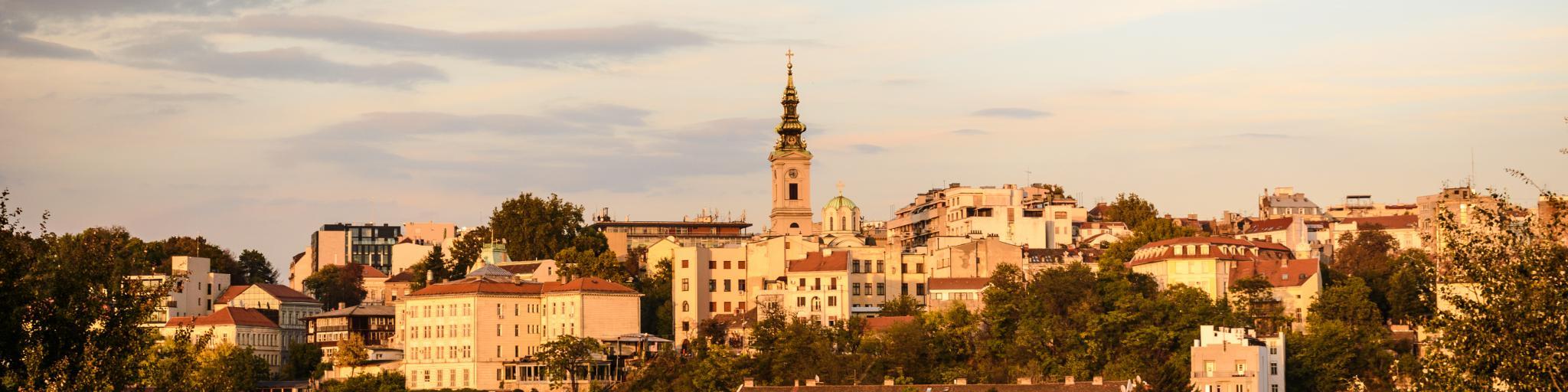 The Belgrade skyline at sunset
