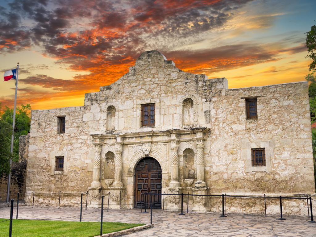 The Alamo at sunrise in San Antonio, Texas