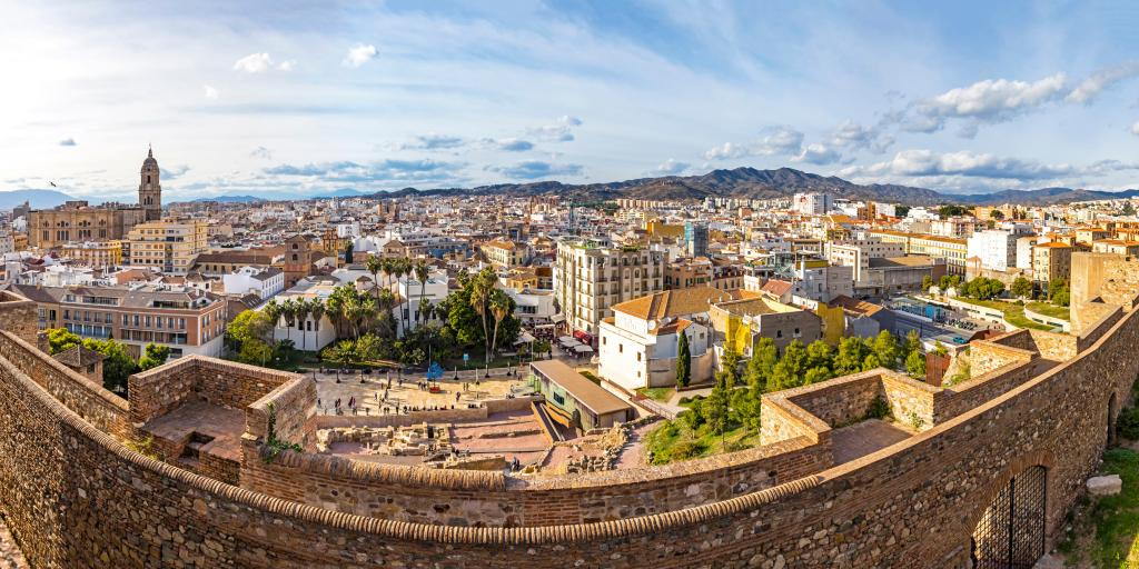 View of city of Malaga from the Alcazaba ruins