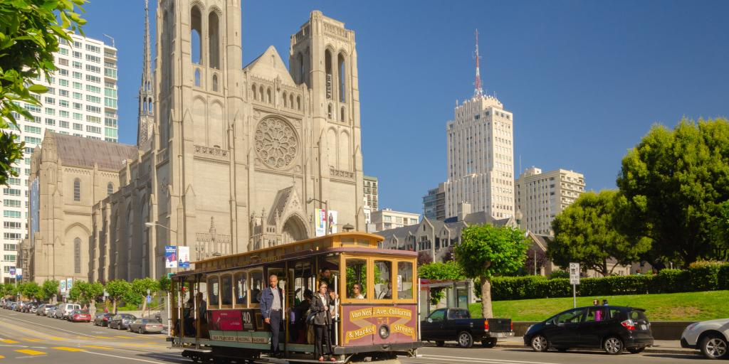 Grace Cathedral on San Francisco's Nob Hill with a cable car in front of it