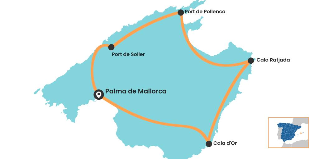 Map of the Mallorca road trip around the island starting and ending in Palma de Mallorca
