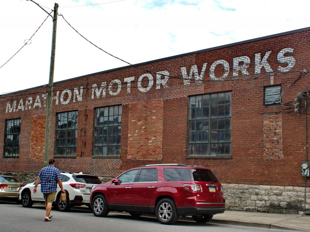 Old Marathon Motor Works converted into shops and cafes in Nashville, Tennessee