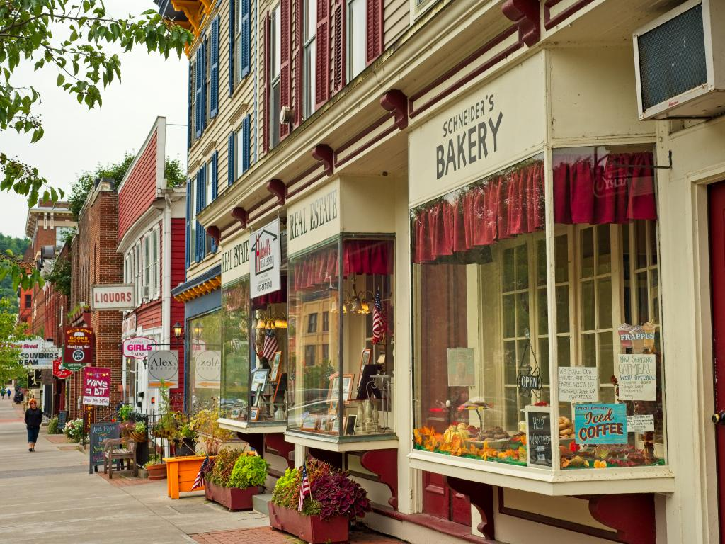 A pretty street with shops in Cooperstown, New York