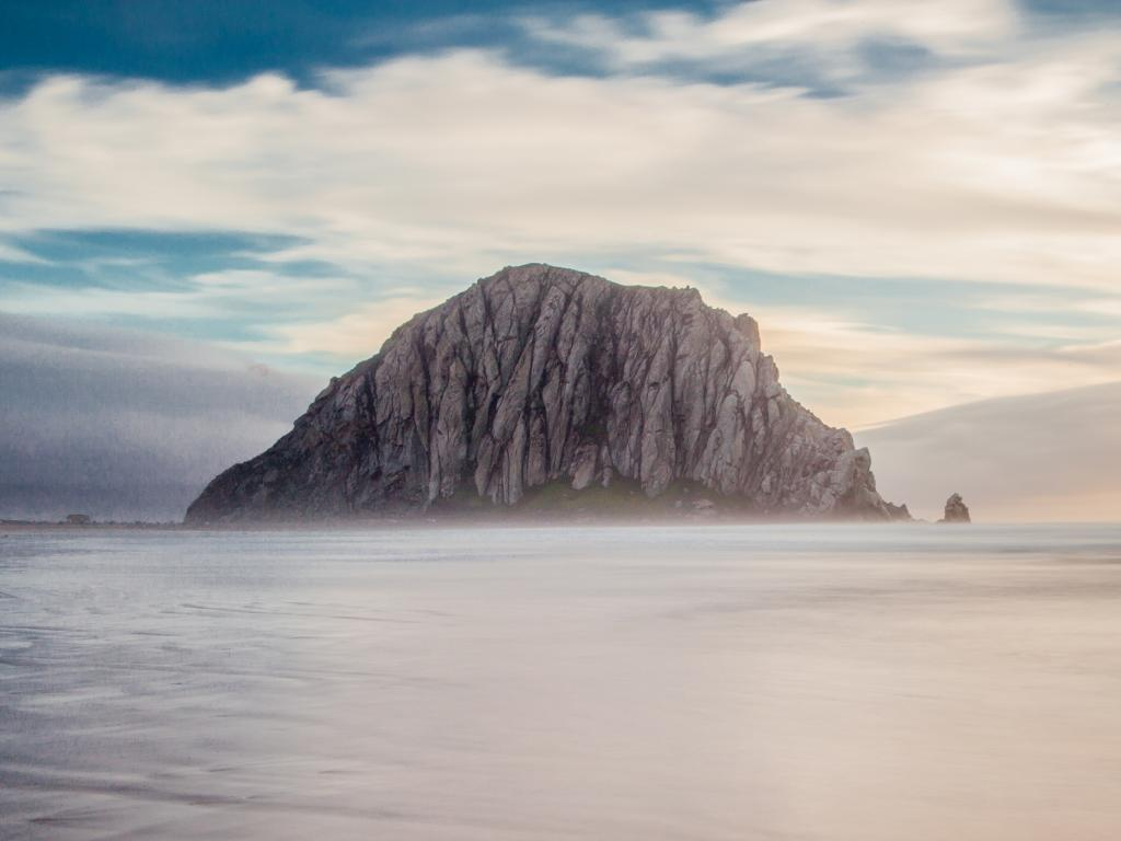 Morro Rock on the coastline near San Luis Obispo, California