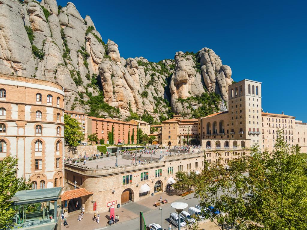 Sunny view of Montserrat Monastery - a short drive from Barcelona