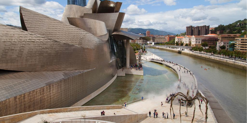 The striking Guggenheim Museum site on the waterfront in Bilbao, Spain