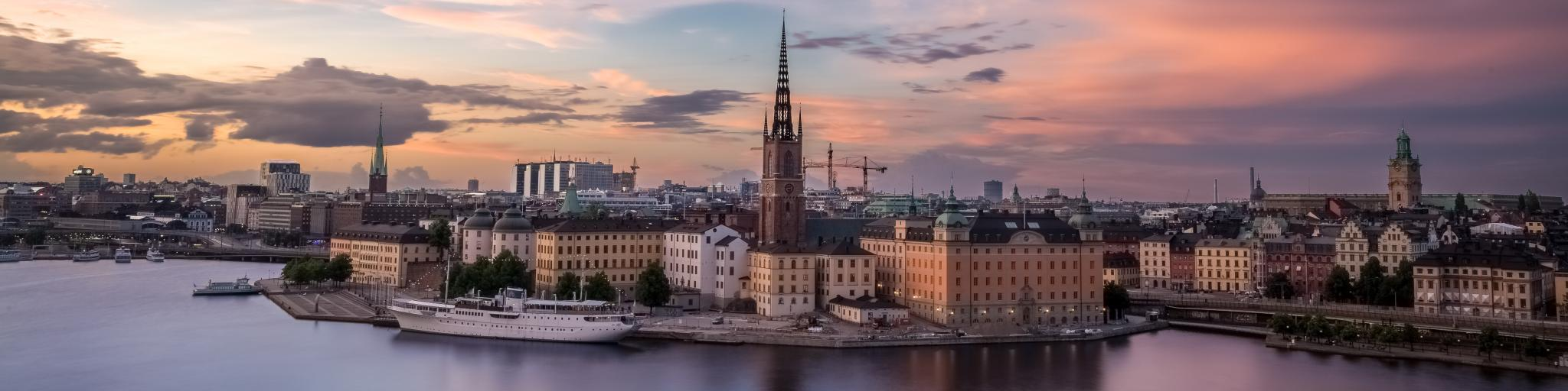 A purple sky at sunset over the city of Stockholm in Sweden