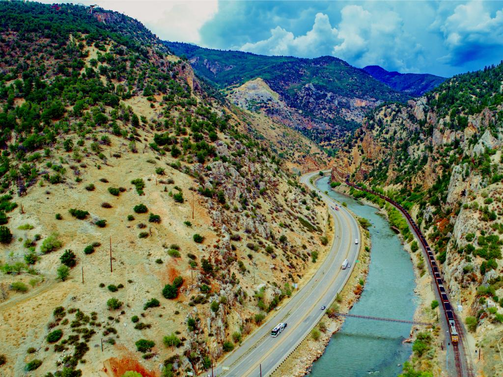 An aerial view of Interstate 70 along Glenwood Springs Canyon and Colorado River on a fine morning