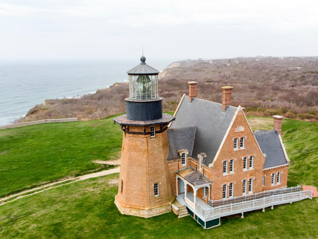 A traditional brick lighthouse on Block Island, Rhode Island.