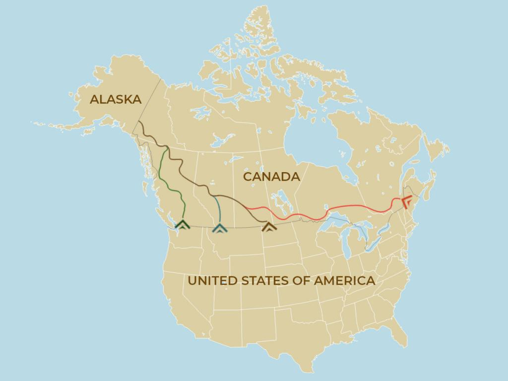 Map of the 4 different ways to drive to Alaska from the United States depending on where you start