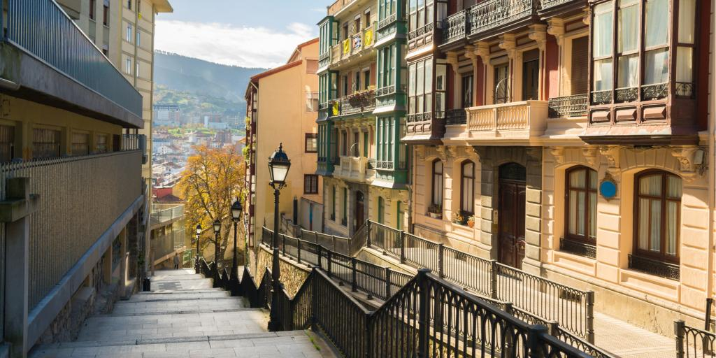 Views of Old Town in Bilbao from a staircase