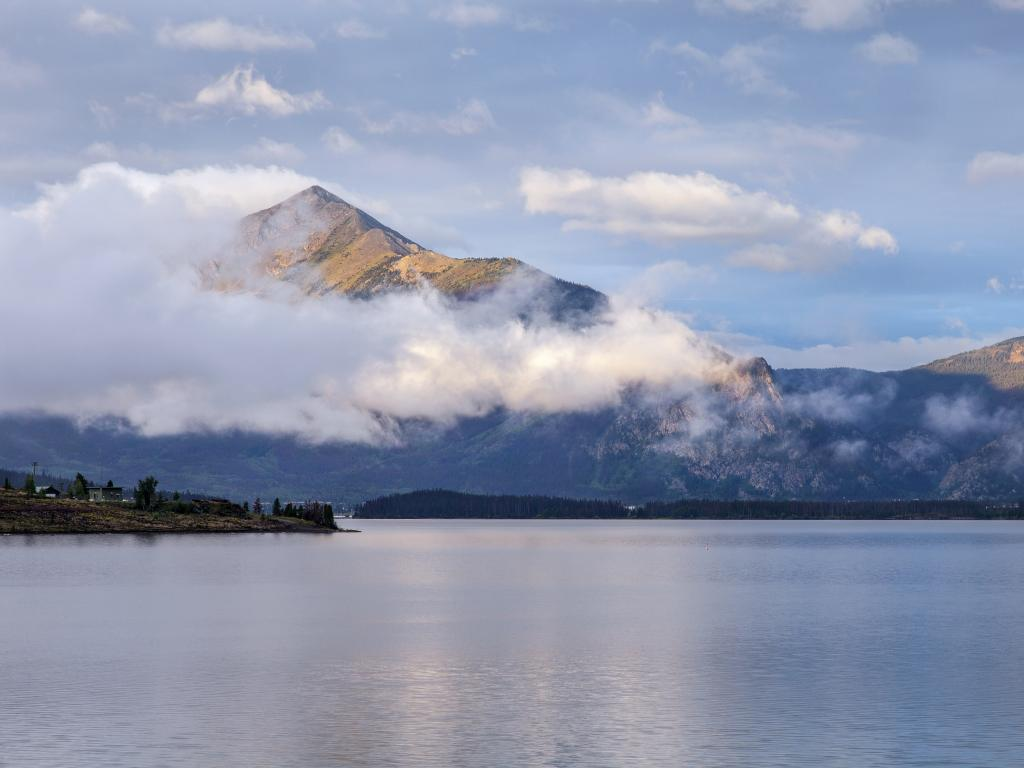 Morning fog over Lake Dillon in the heart of the Rocky Mountains