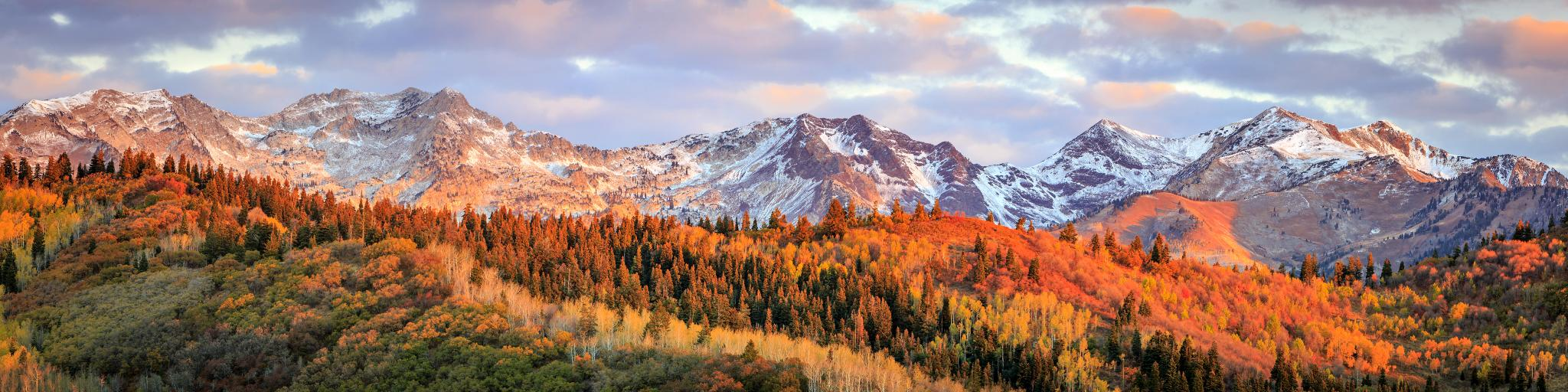 Wasatch Mountains in the fall as you approach Salt Lake City on the road trip from Denver.
