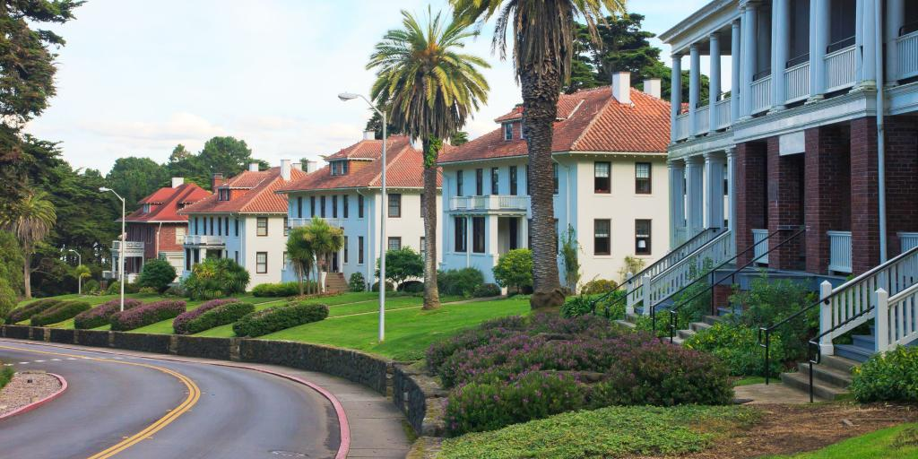 Classic mansions with manicured lawns in the Presidio along the route of the 49 Mile Scenic Drive in San Francisco.