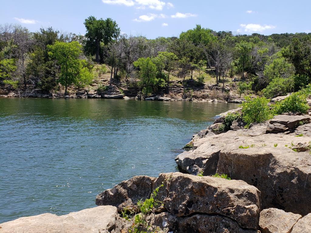 View of the lake from rocks above at the Possum Kingdom State Park.