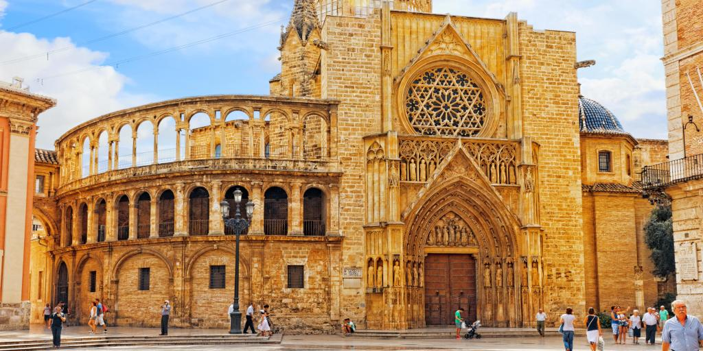 The curved exterior of Valencia  Cathedral, Spain, on a sunny day