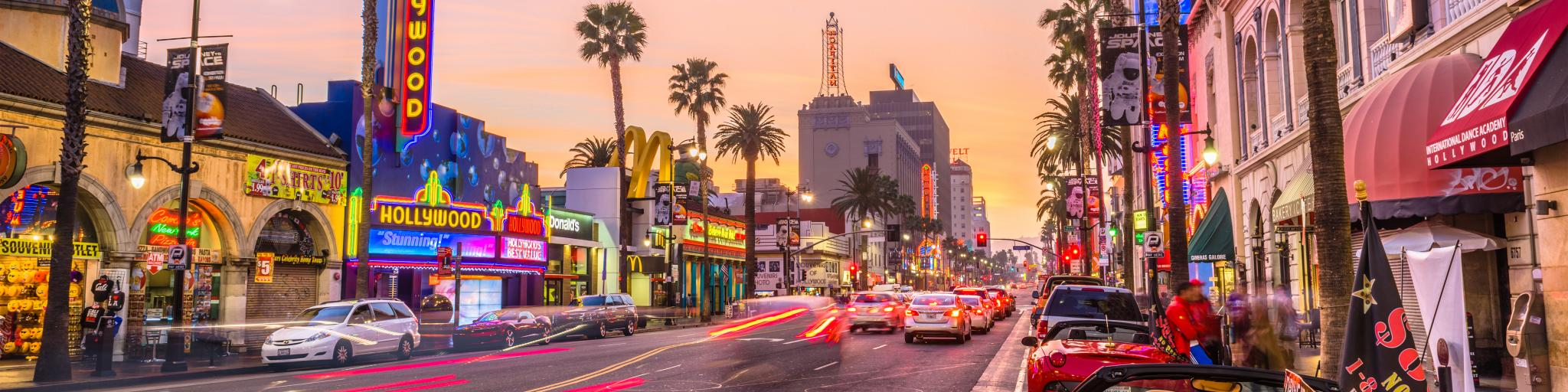 Traffic on Hollywood Boulevard at dusk, Los Angeles, California
