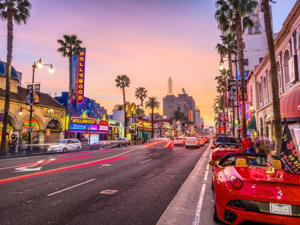Traffic on Hollywood Boulevard at dusk, Los Angeles, California