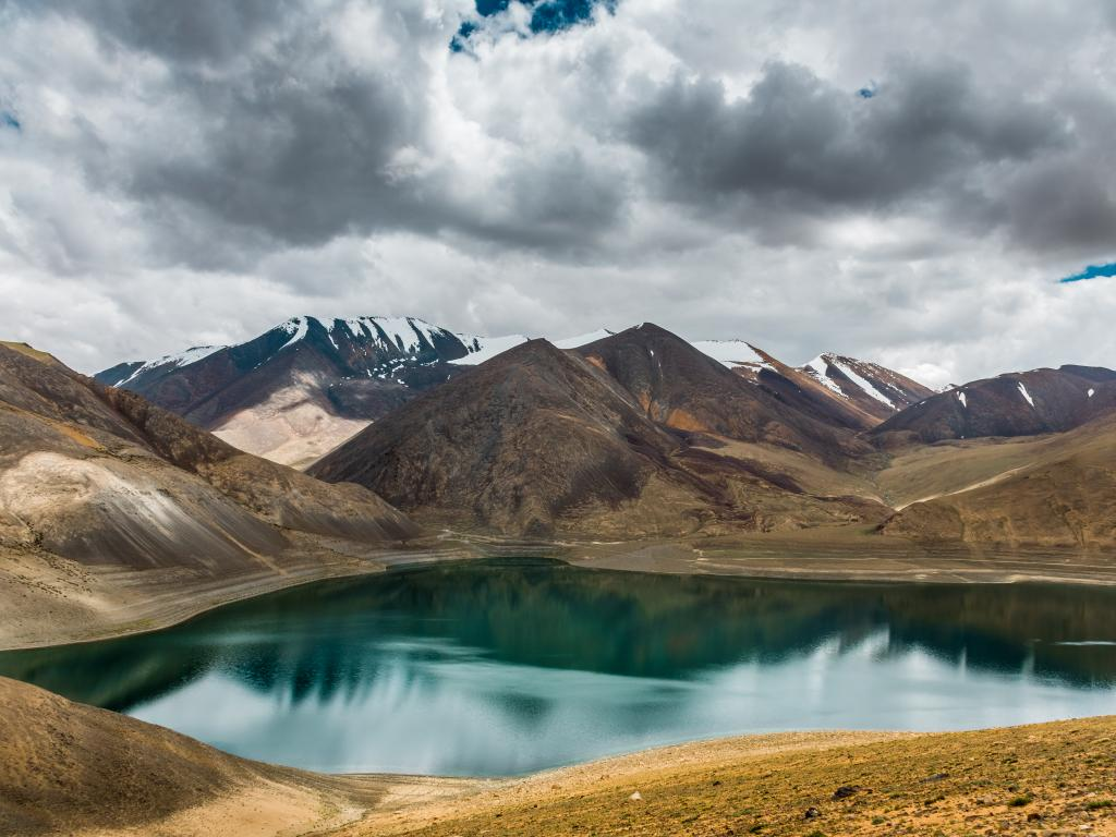 Mirpal Tso lake lying just below the highest point on the Kaksang La pass in northern India
