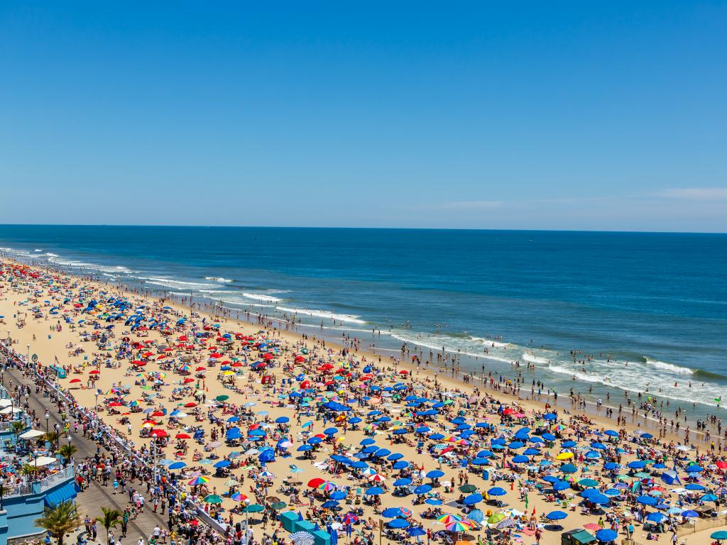 Visitors flock to the very popular beach at Ocean City during the summer in Maryland