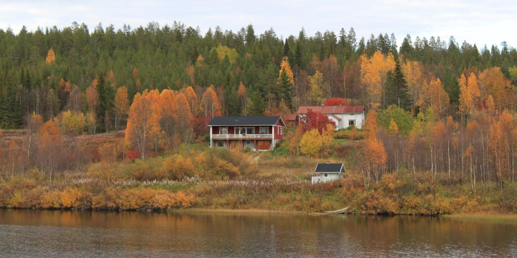 A cabin on a lake on an autumn day is surrounded by colourful trees and evergreens