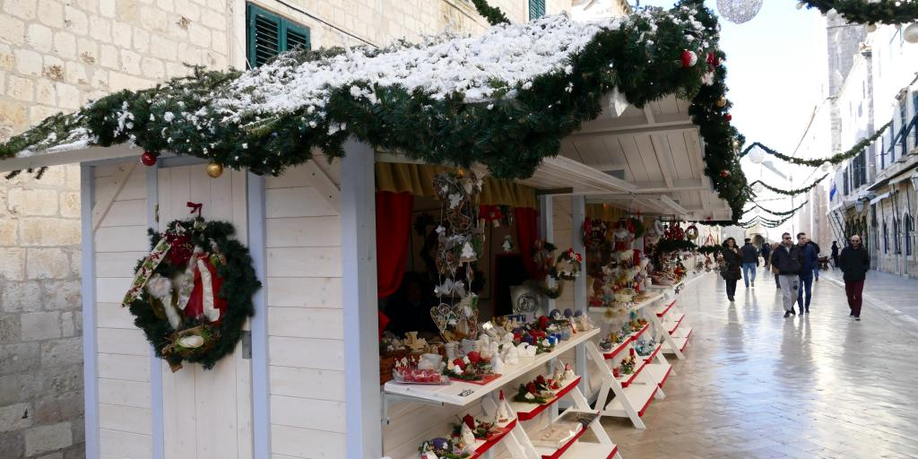 A  hut selling gifts at Dubrovnik Christmas Fair, Croatia