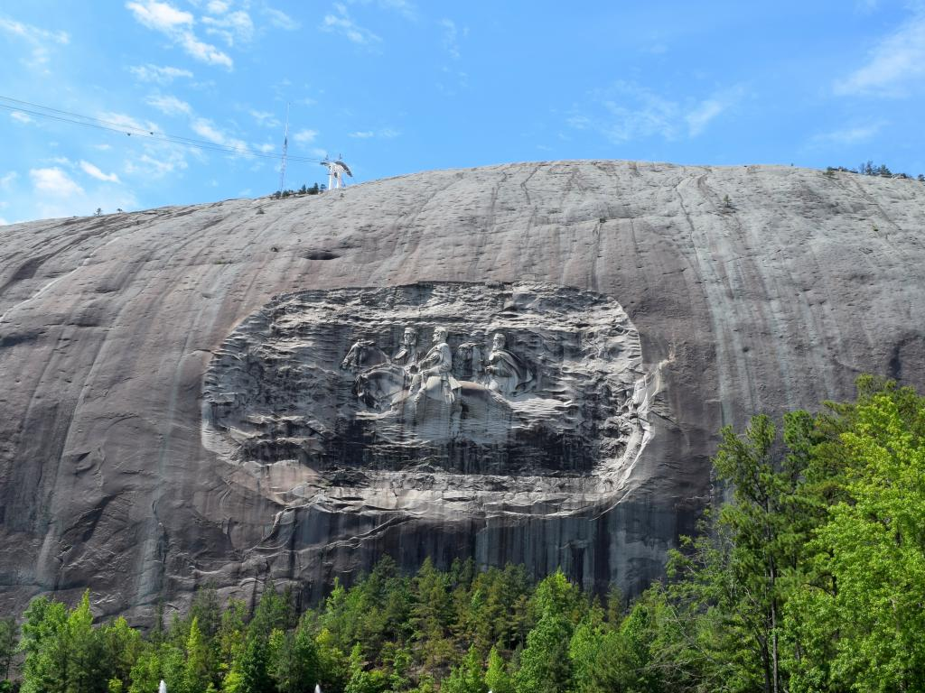 Confederate Memorial of Jefferson Davis, Robert E, Lee, Stonewall Jackson on Stone Mountain, Georgia