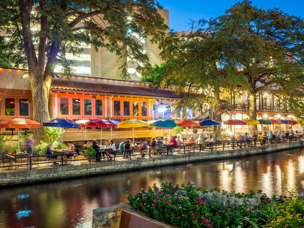 Restaurants and bars along the Riverwalk in San Antonio, Texas