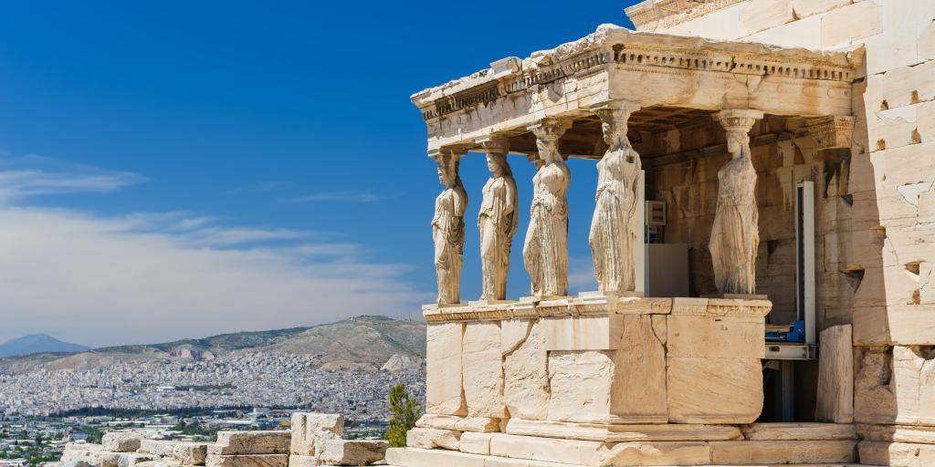 The porch of the Erechtheion in Acropolis at Athens.
