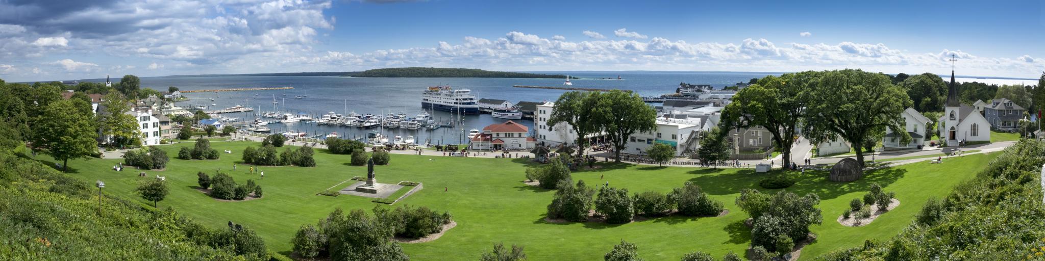 Panoramic view of State Harbor Marina on Mackinac Island, Michigan